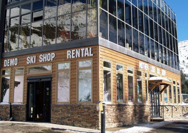 The glazed structure above the ski shop