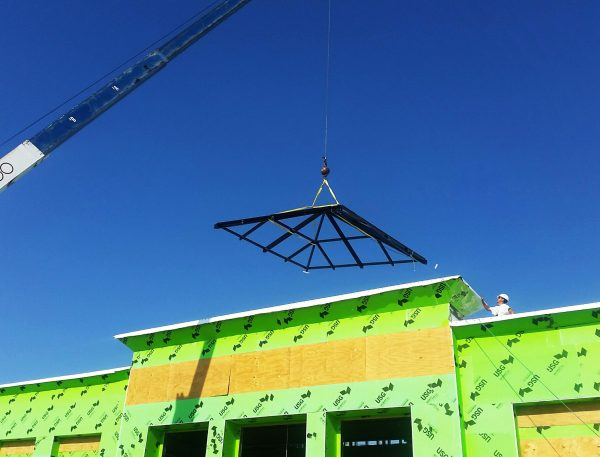 Crane lift to the roof