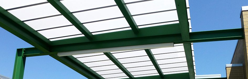 Palram polycarbonate canopy at Derby Middle School
