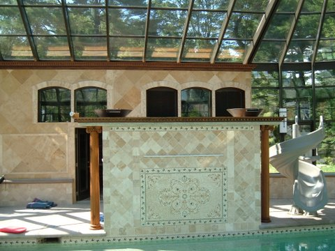 Masonry work inside the pool