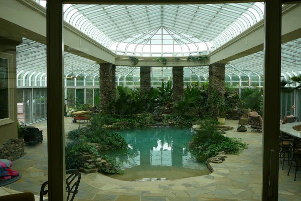 Inside the pool enclosure
