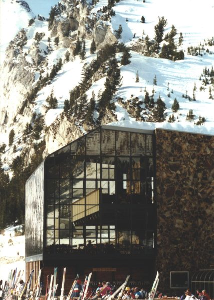 The glazed structure overlooking the skier's area